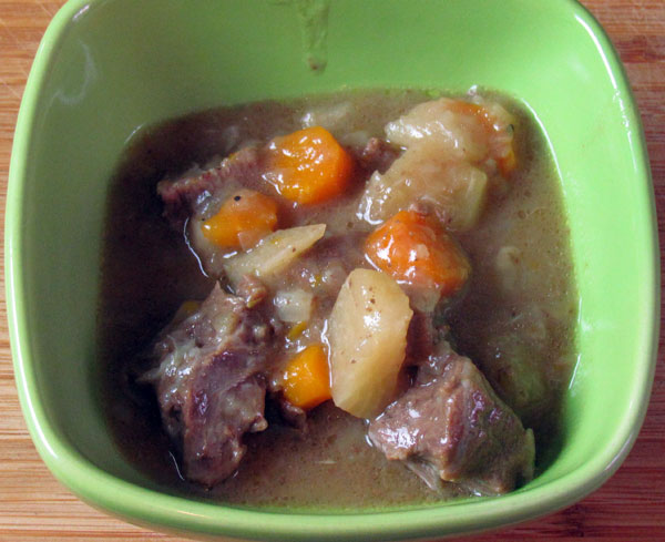 Beef stew with onion, carrot and turnips