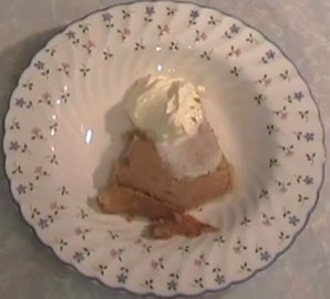 Parsnip pudding with a dollop of whipped cream